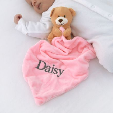 Personalised Pink Teddy Baby Comforter